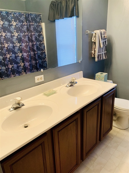 Real Estate Photography - 138 Cornwell Dr, Bear, DE, 19701 - Double Sinks in 2nd floor hall bath