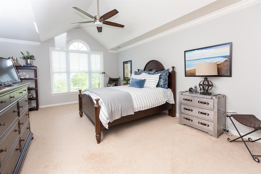 Real Estate Photography - 19350 Mersey Drive #D2, D2, Rehoboth  Beach, DE, 19971 - Owners Bedroom with Vaulted Ceiling
