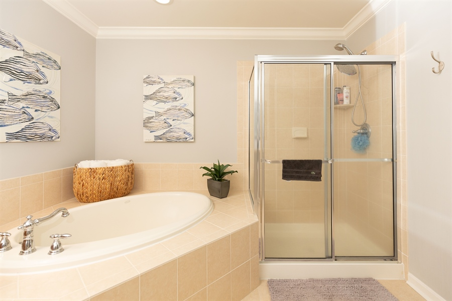 Real Estate Photography - 19350 Mersey Drive #D2, D2, Rehoboth  Beach, DE, 19971 - Corner Tub and Tiled Shower