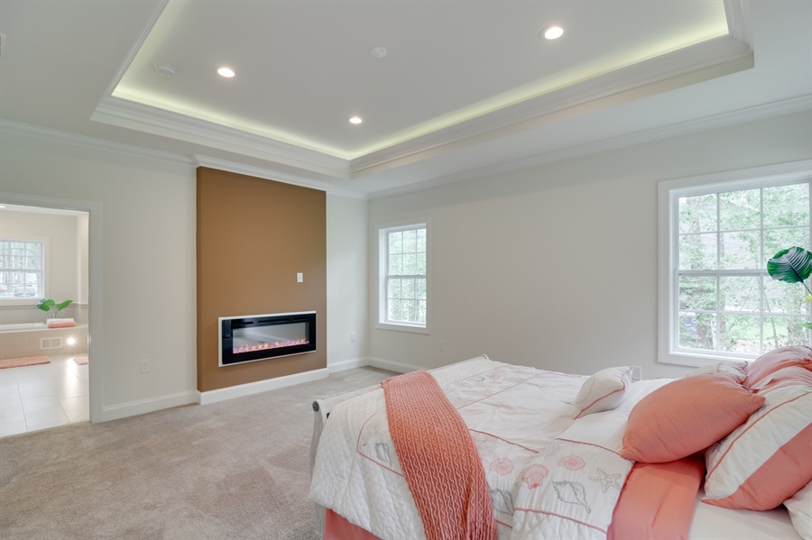 Real Estate Photography - 26180 Tuscany Dr, Millsboro, DE, 19966 - Gorgeous Master Suite w/Electric Fireplace
