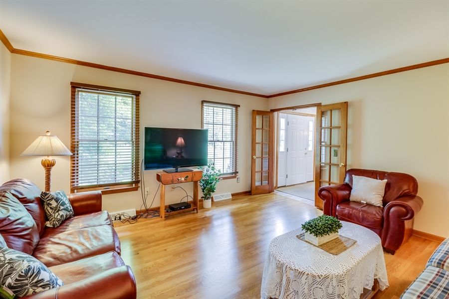 Real Estate Photography - 406 Meadow Ln, Middletown, DE, 19709 - French doors and refinished hardwood
