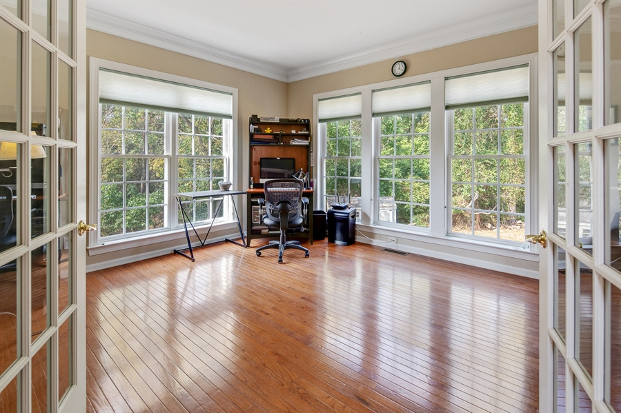 Real Estate Photography - 121 Borden Way, Lincoln University, PA, 19352 - French doors into the den/study