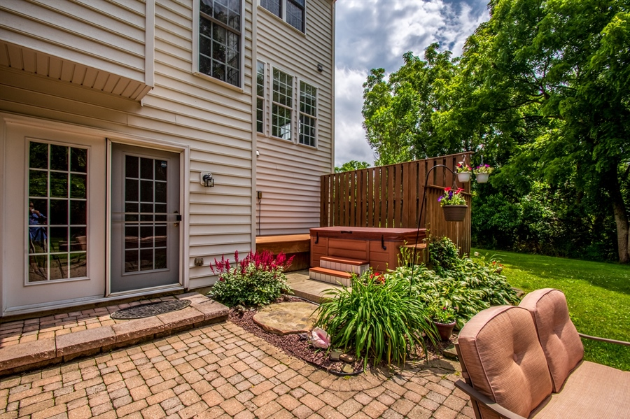 Real Estate Photography - 121 Borden Way, Lincoln University, PA, 19352 - The patio leads to the private hot tub area....