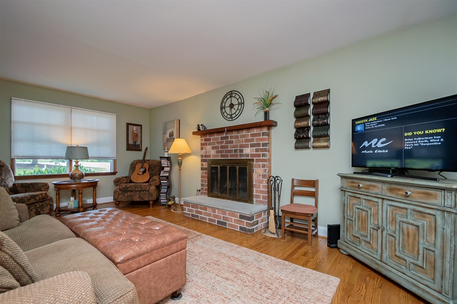 Real Estate Photography - 318 Mitchell Dr, Wilmington, DE, 19808 - Family Room with Brick Fireplace