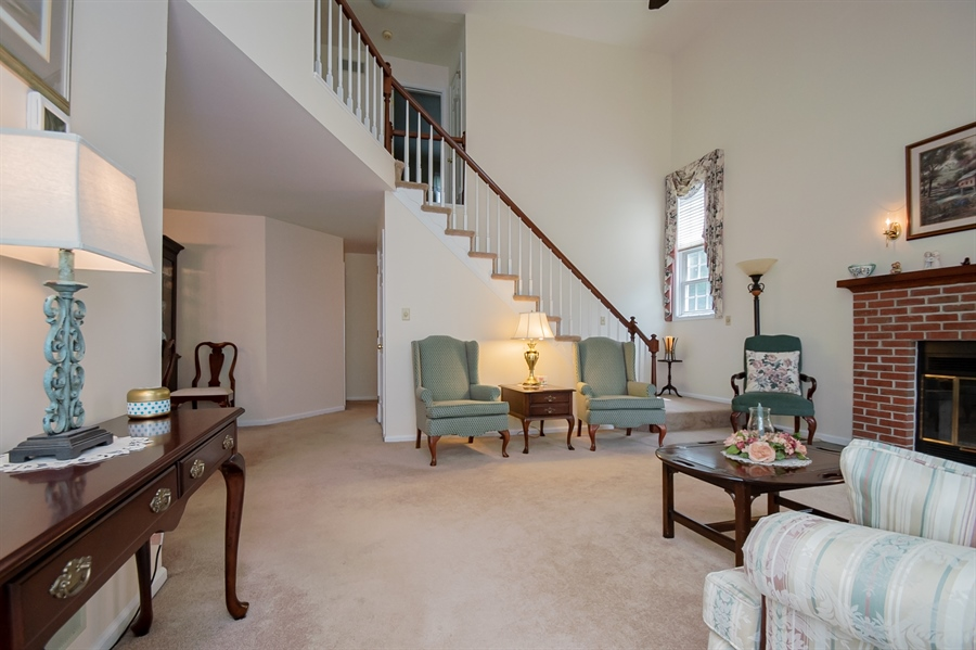 Real Estate Photography - 830 Bess Ln, Wilmington, DE, 19803 - Living Room w/ Two Story Ceiling