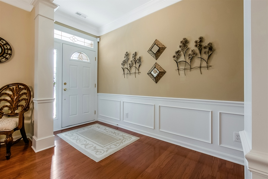 Real Estate Photography - 14 Compass Rose Way, Newark, DE, 19702 - Foyer w/ Hardwoods and Wainscoting