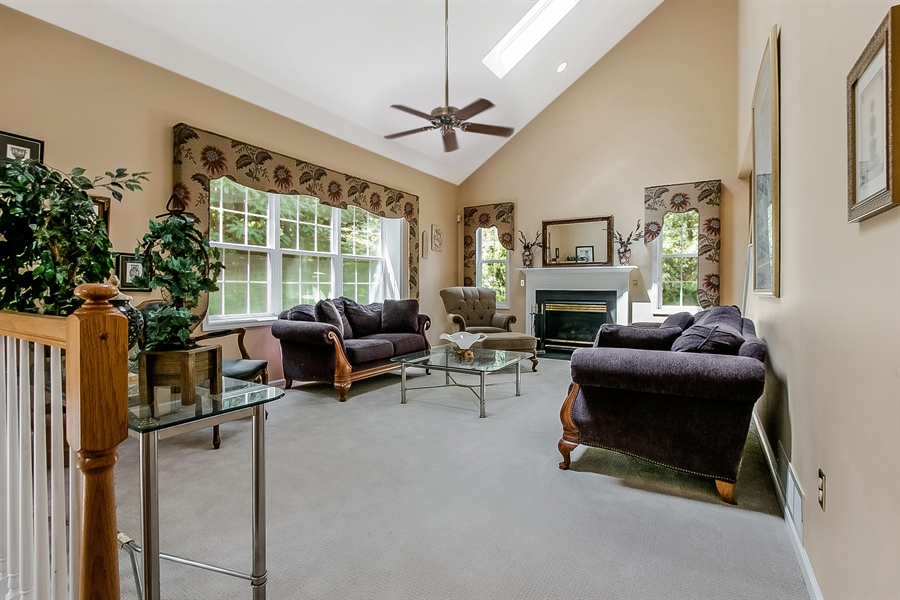 Real Estate Photography - 512 Thorndale Dr, Hockessin, DE, 19707 - Large Vaulted Family Room With Fireplace...Cozy!