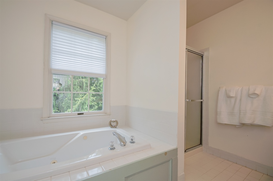 Real Estate Photography - 3 Homestead Ln, Hockessin, DE, 19707 - Master Bath W/Soaking Tub And Stall Shower