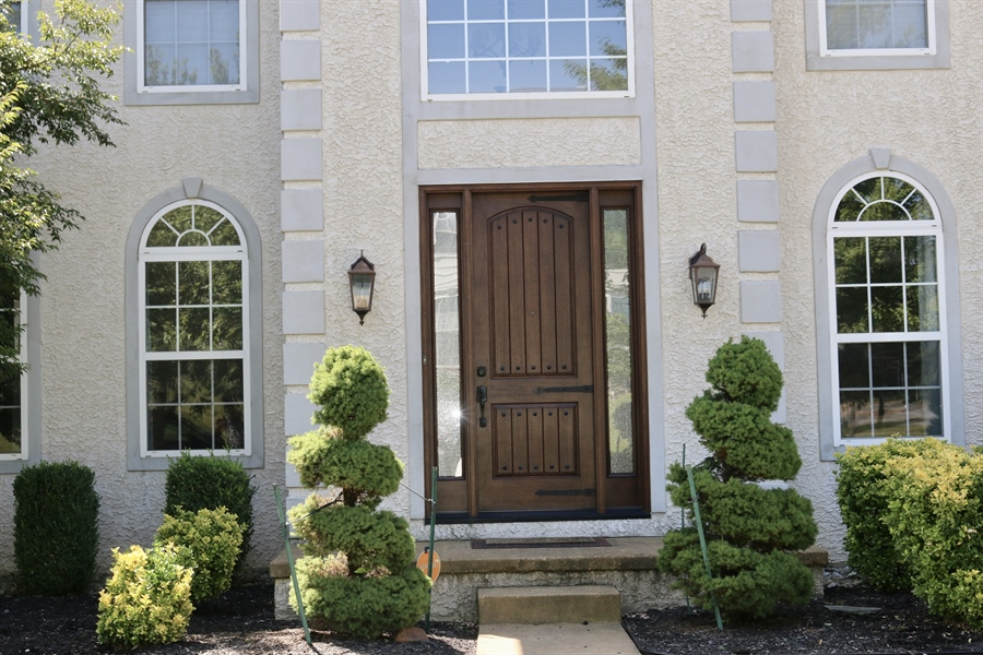 Real Estate Photography - 127 Willow Grove Mill Dr, Middletown, DE, 19709 - 8' Rustic Tuscany Door w/ Rainglass Sidelights