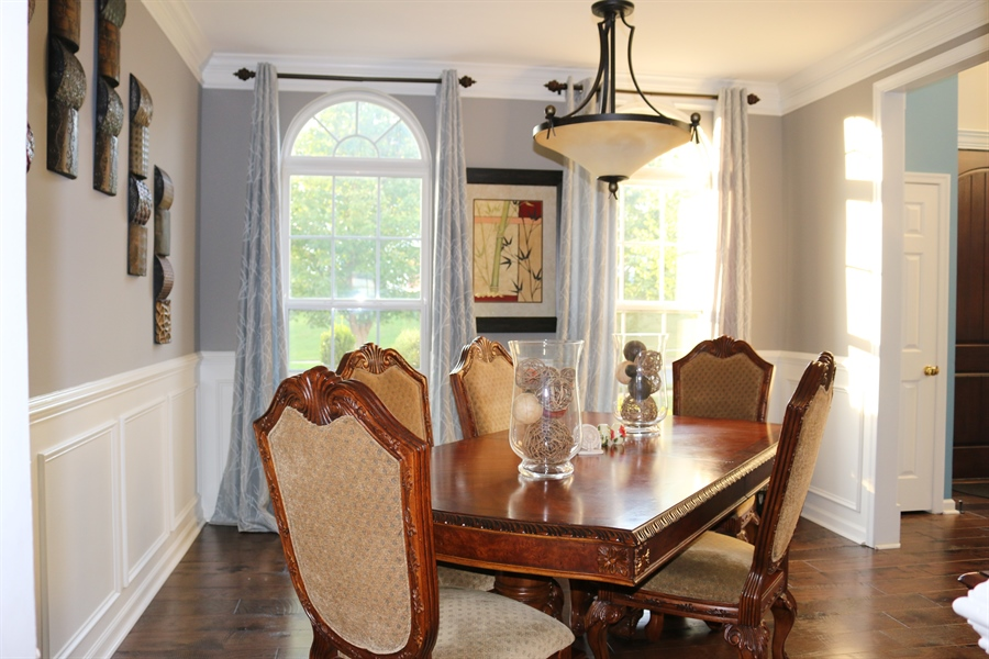 Real Estate Photography - 127 Willow Grove Mill Dr, Middletown, DE, 19709 - Formal Dinning w/ Chair Rail & Shadow Box
