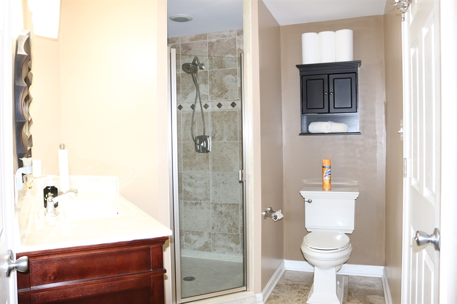 Real Estate Photography - 127 Willow Grove Mill Dr, Middletown, DE, 19709 - Basement Bathroom w/ Tiled Flooring