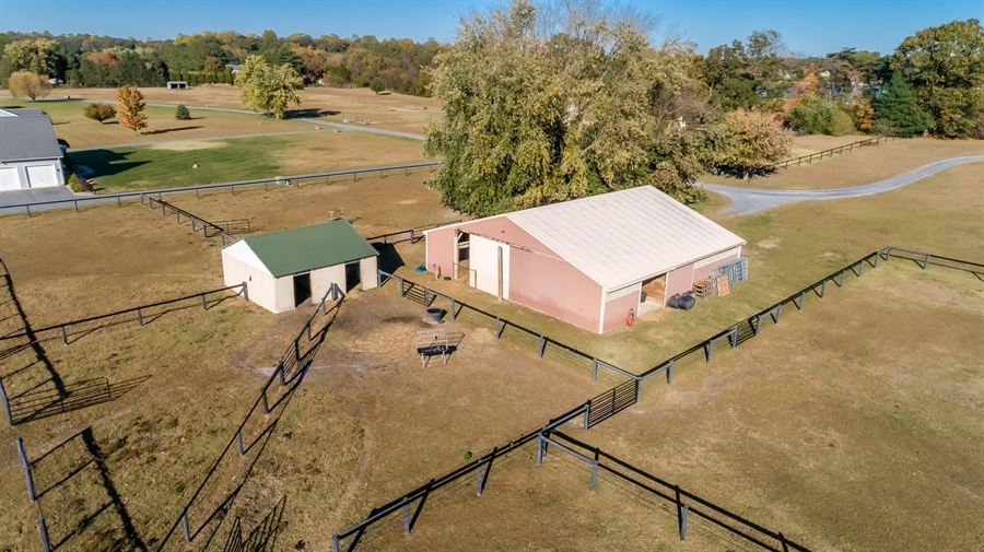Real Estate Photography - 281 Marjorie Ln, Harrington, DE, 19952 - AERIAL OF THE BARN AND RUN IN SHED