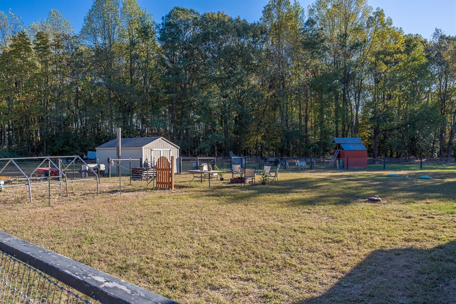Real Estate Photography - 281 Marjorie Ln, Harrington, DE, 19952 - VIEW OF THE SHEDS & FENCED ENCLOSURES IN BACK YARD
