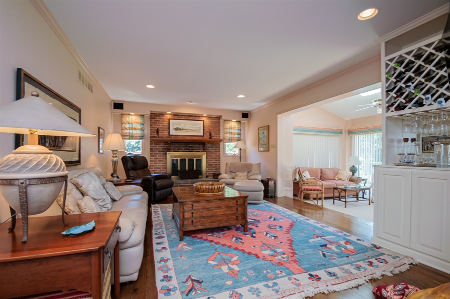 Real Estate Photography - 11 Tenby Chase Dr, Newark, DE, 19711 - Spacious Family Room w Brick FPL