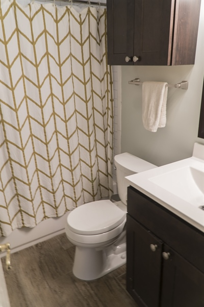 Real Estate Photography - 1209 Mayfield Rd, Wilmington, DE, 19803 - Updated Hall Bath with Tub Shower Subway Tile