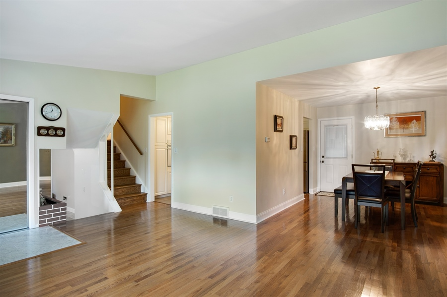 Real Estate Photography - 2129 Largo Rd, Wilmington, DE, 19803 - Open layout living room, dining room and kitchen