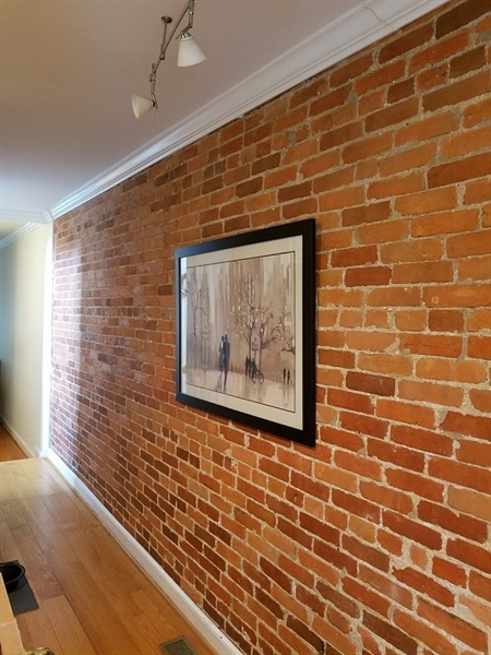 Real Estate Photography - 1911 Lovering Ave, Wilmington, DE, 19806 - Living room with color block wall