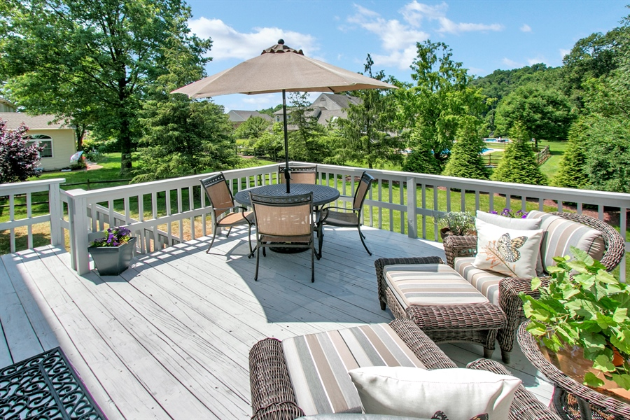 Real Estate Photography - 204 S Pond Rd, Hockessin, DE, 19707 - Private Rear Deck with Steps to Grade