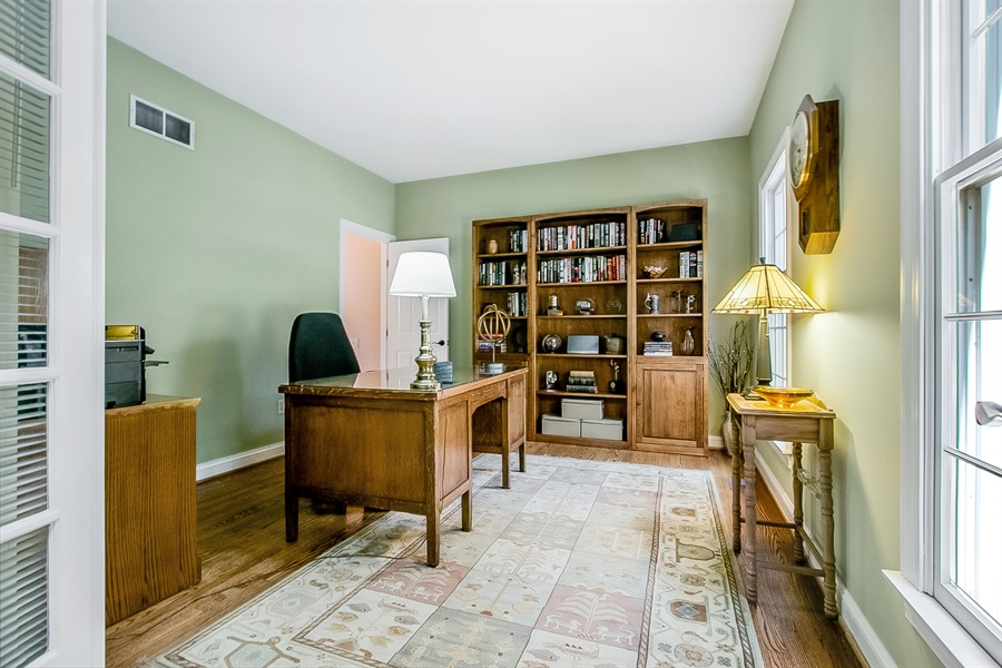 Real Estate Photography - 204 S Pond Rd, Hockessin, DE, 19707 - Spacious Study with French Doors