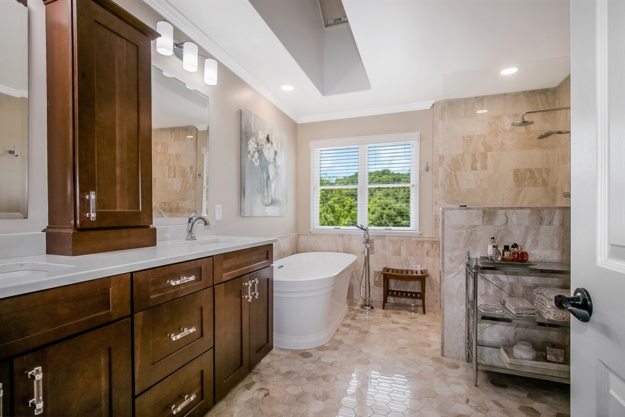 Real Estate Photography - 204 S Pond Rd, Hockessin, DE, 19707 - Spa-Like Master Bathroom with Skylight