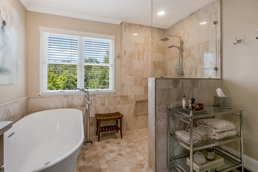 Real Estate Photography - 204 S Pond Rd, Hockessin, DE, 19707 - Free Standing Tub and Beautiful Walk-In Shower