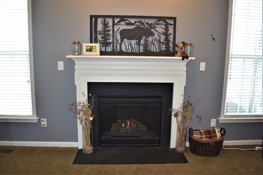 Real Estate Photography - 503 Maiden Ct, Middletown, DE, 19709 - Gas Fireplace With Blower For Heat!