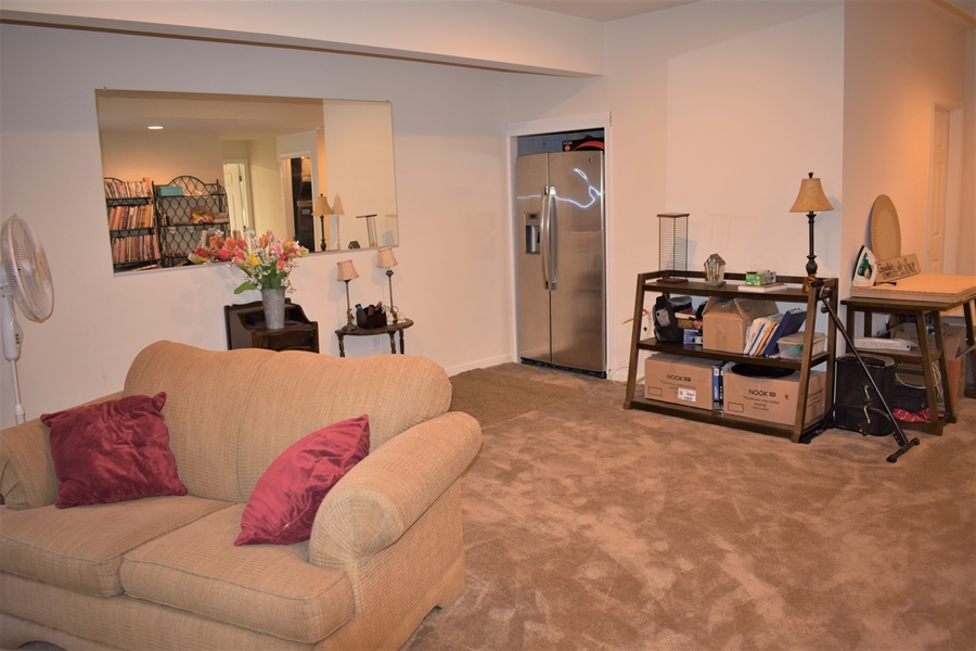 Real Estate Photography - 503 Maiden Ct, Middletown, DE, 19709 - Basement Front Rm W/ Fridge & Plumbed For Bar