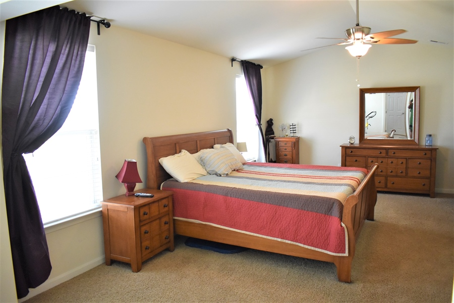 Real Estate Photography - 503 Maiden Ct, Middletown, DE, 19709 - Large Mster W/ Vaulted Ceiling [King Sz Bed Shown]