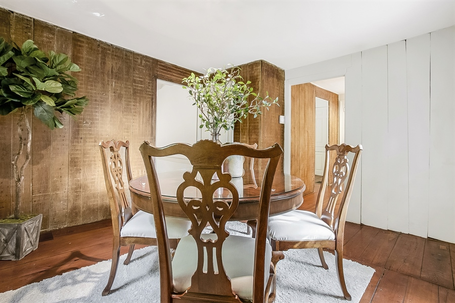 Real Estate Photography - 47 E 2nd St, New Castle, DE, 19720 - Dining Room-with original wooden room dividers
