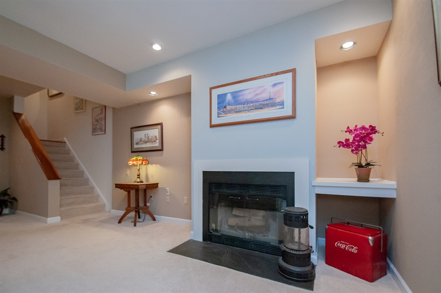 Real Estate Photography - 10 Laurel Ct, Wilmington, DE, 19808 - Wood Burning Fireplace Lower Level