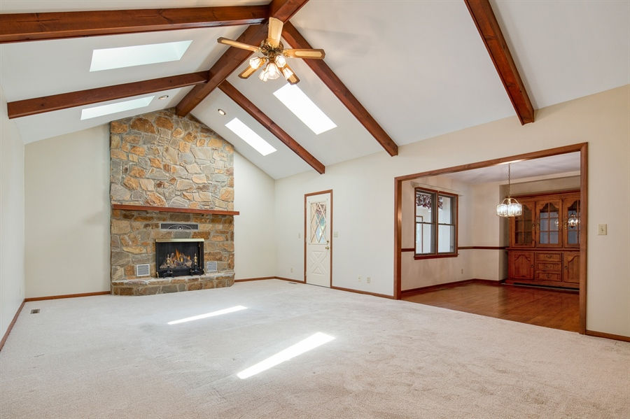 Real Estate Photography - 270 Delaplane Ave, Newark, DE, 19711 - Cathedral great room with gas fireplace