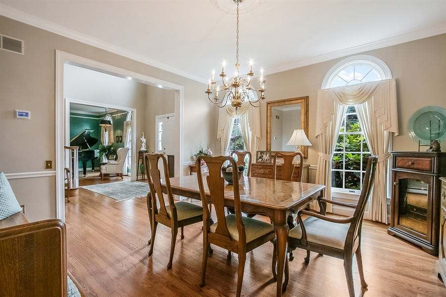 Real Estate Photography - 525 Ridgeview Dr, Hockessin, DE, 19707 - Another Dining Room View w/Two Circle Top Windows