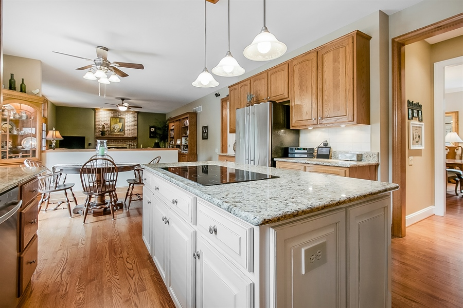 Real Estate Photography - 525 Ridgeview Dr, Hockessin, DE, 19707 - Another Lovely Kitchen View Looking Into Family Rm