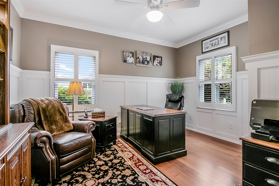 Real Estate Photography - 525 Ridgeview Dr, Hockessin, DE, 19707 - Spacious Study with Plantation Shutters &Hardwood