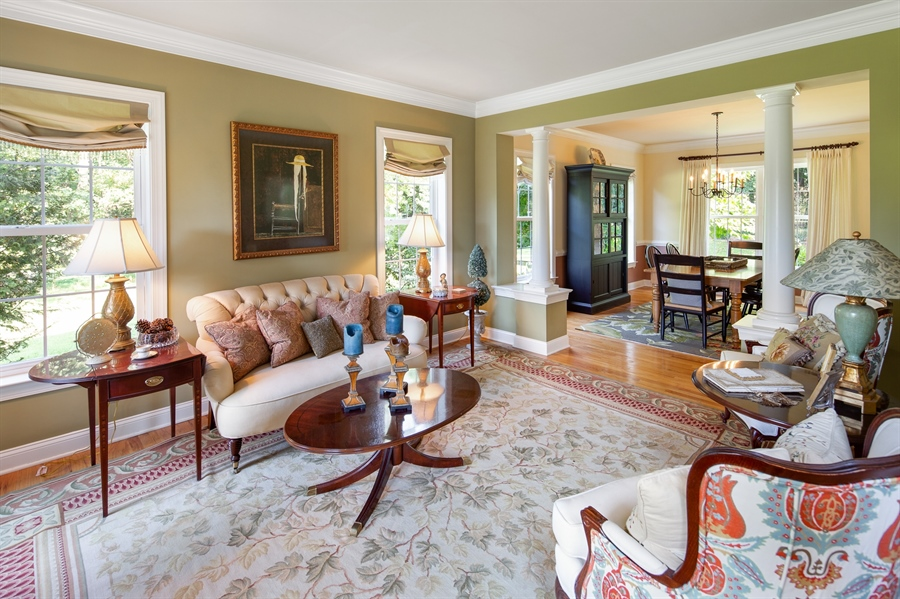 Real Estate Photography - 784 Shavertown Rd, Garnet Valley, PA, 19060 - Living room with decorative columns