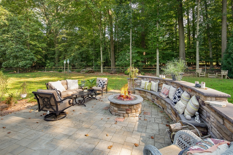 Real Estate Photography - 784 Shavertown Rd, Garnet Valley, PA, 19060 - Stone patio with gas fire pit
