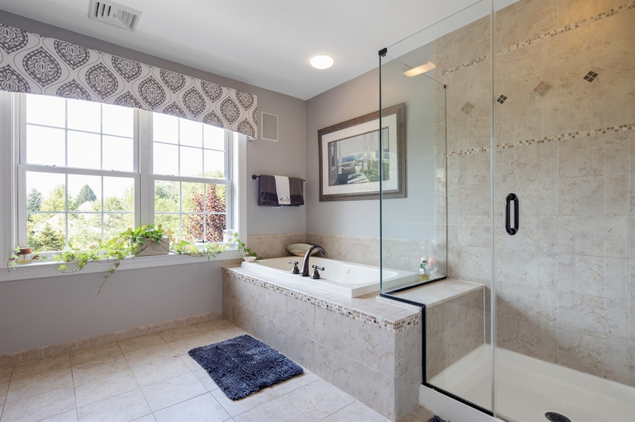 Real Estate Photography - 784 Shavertown Rd, Garnet Valley, PA, 19060 - Luxurious tiled master bathroom