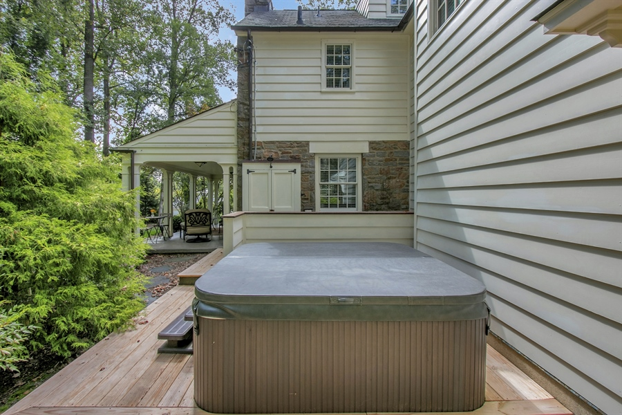 Real Estate Photography - 300 Kennett Pike, Chadds Ford, PA, 19317 - Hot Tub Nestled on Side Deck