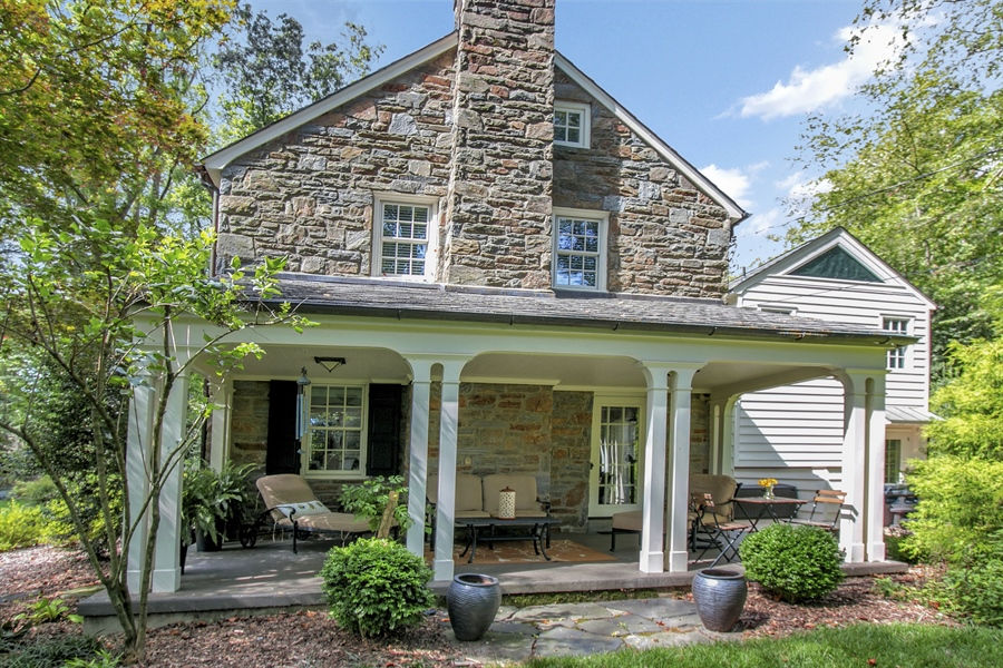 Real Estate Photography - 300 Kennett Pike, Chadds Ford, PA, 19317 - Covered Porch for Anytime Entertaining