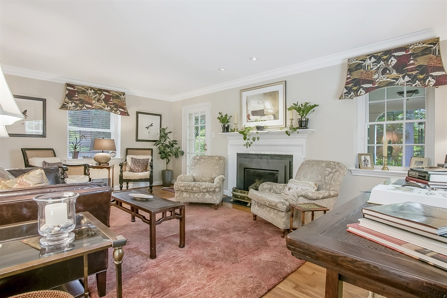 Real Estate Photography - 300 Kennett Pike, Chadds Ford, PA, 19317 - Living Room with Gas Fire Place