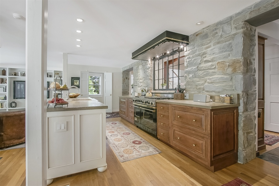 Real Estate Photography - 300 Kennett Pike, Chadds Ford, PA, 19317 - Concrete Counters Accent the Original Stone Wall