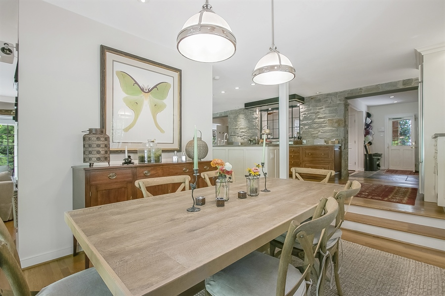 Real Estate Photography - 300 Kennett Pike, Chadds Ford, PA, 19317 - Sunken Breakfast Room Leads to Rear Slate Patio