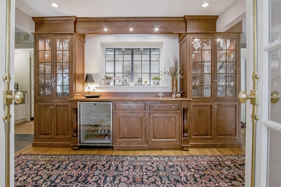 Real Estate Photography - 300 Kennett Pike, Chadds Ford, PA, 19317 - Formal Butler's Pantry with U-Line Wine Cooler