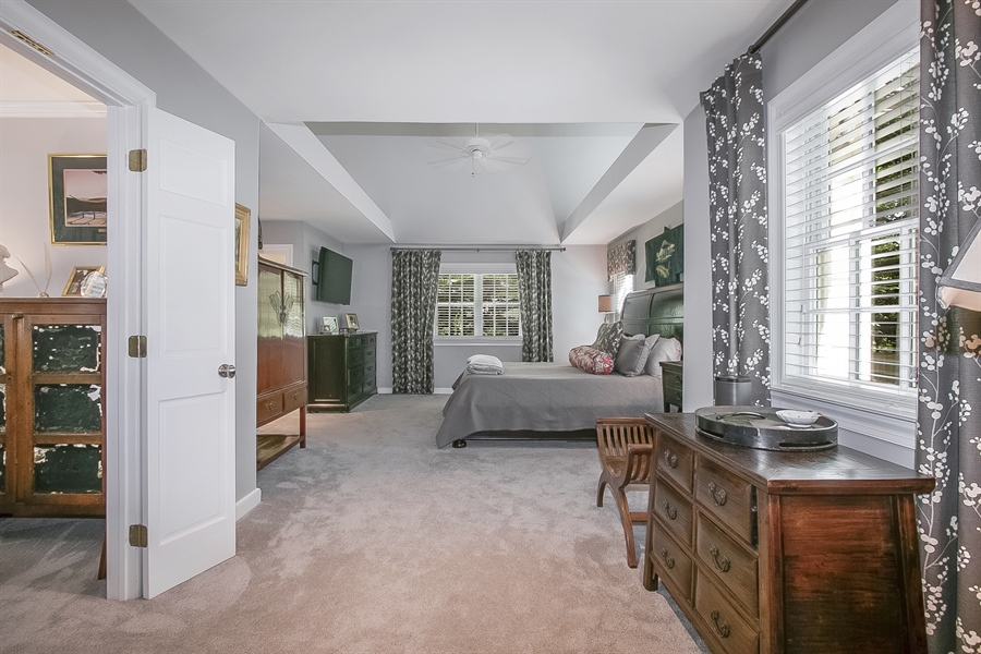 Real Estate Photography - 300 Kennett Pike, Chadds Ford, PA, 19317 - Spacious Master Bedroom with Vaulted Ceiling