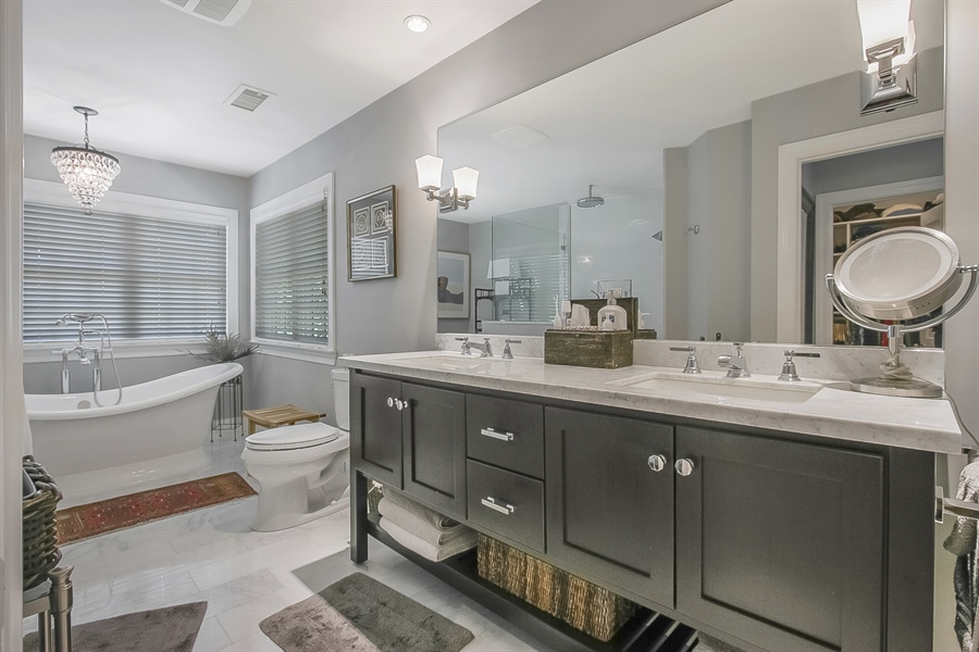 Real Estate Photography - 300 Kennett Pike, Chadds Ford, PA, 19317 - Master Bathroom with Double Vanity
