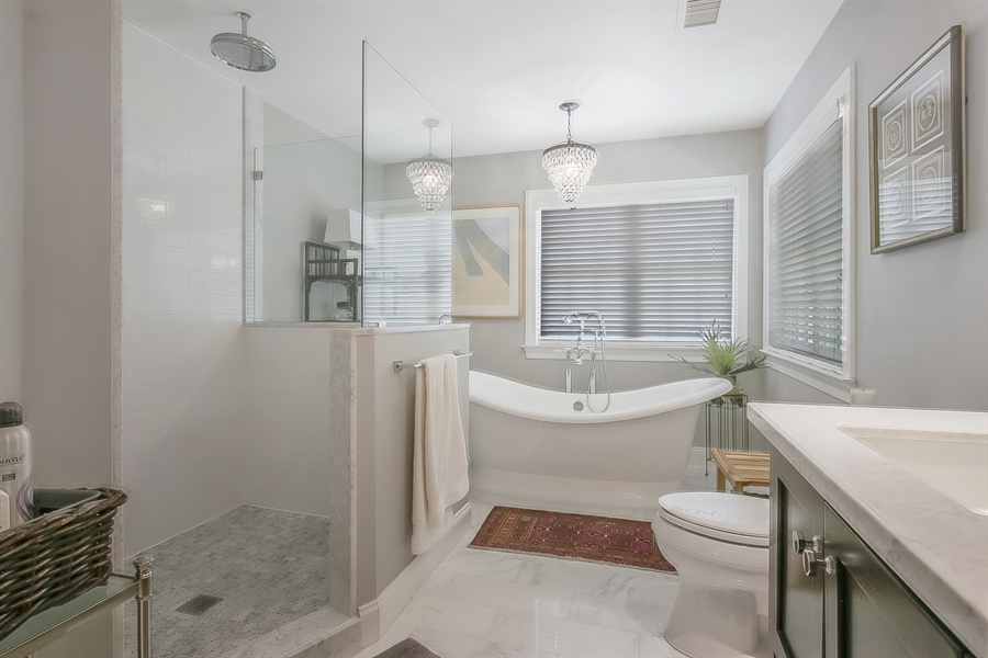 Real Estate Photography - 300 Kennett Pike, Chadds Ford, PA, 19317 - Master Bathroom Soaking Tub & Walk-In Shower
