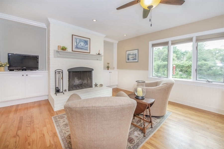 Real Estate Photography - 700 Fawn Rd, Newark, DE, 19711 - brick fireplace in sitting area