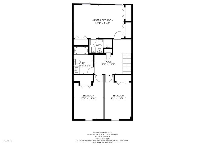 Real Estate Photography - 10 West Ct, Wilmington, DE, 19810 - Upper level floor plan