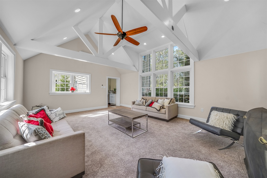 Real Estate Photography - 1426 E Strasburg Rd, West Chester, PA, 19380 - Great Room w/Vaulted Ceilings, Fireplace & Wet Bar