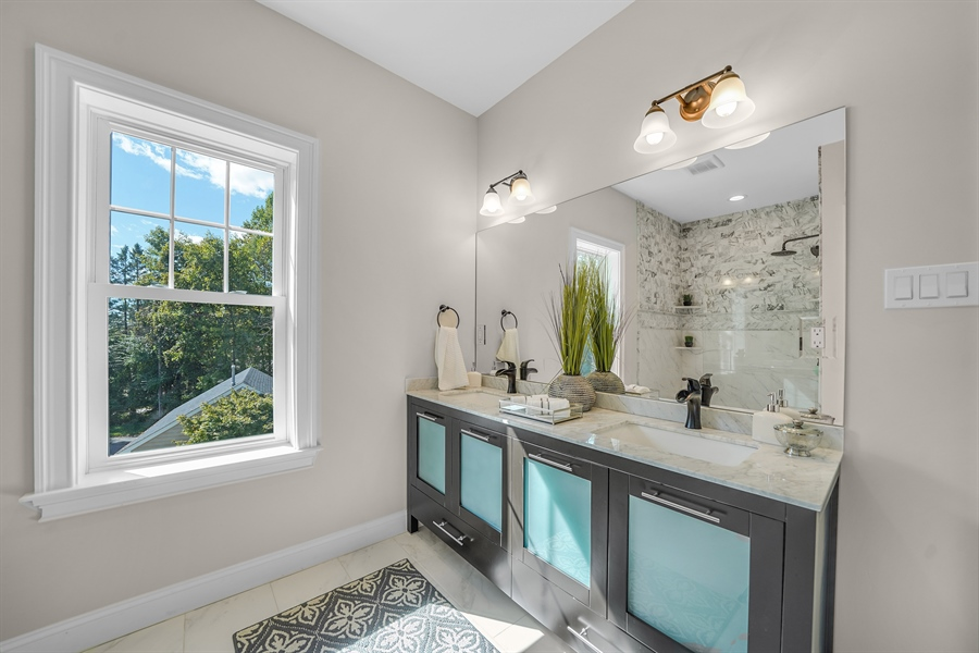 Real Estate Photography - 1426 E Strasburg Rd, West Chester, PA, 19380 - Master Bath Double Vanity.